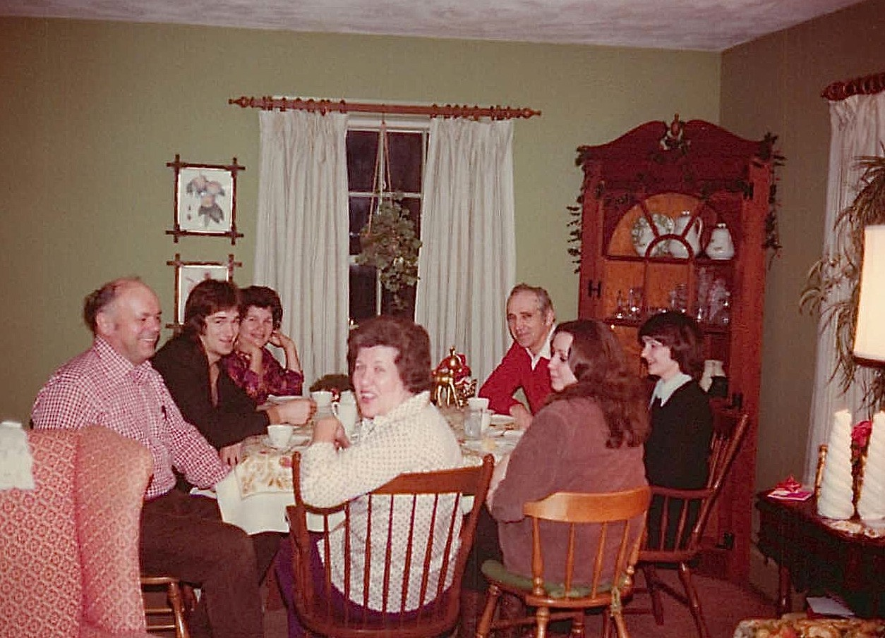 Al, Tommy, Helen, Eleanor, Andy, Marcia & Jean Bednarski Xmas at Lockwood Rd. 1976