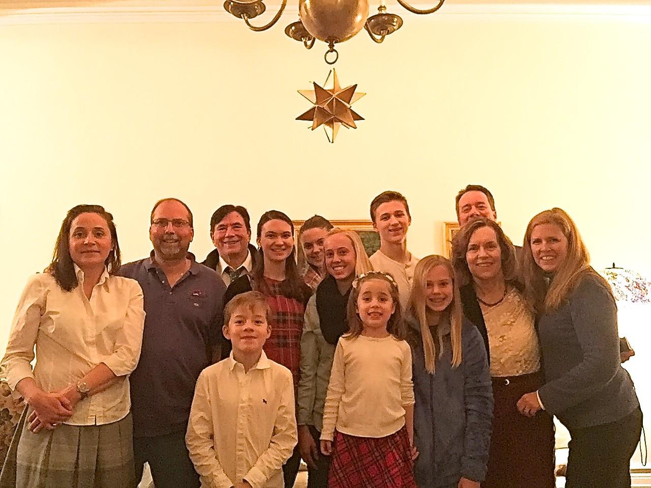 Barbara, Jerry, John, Ellie, Kate, Brooke, Jack, Jon Boylan; front, Alexandre, Charlotte, Brianna, Lorraine, Lisa