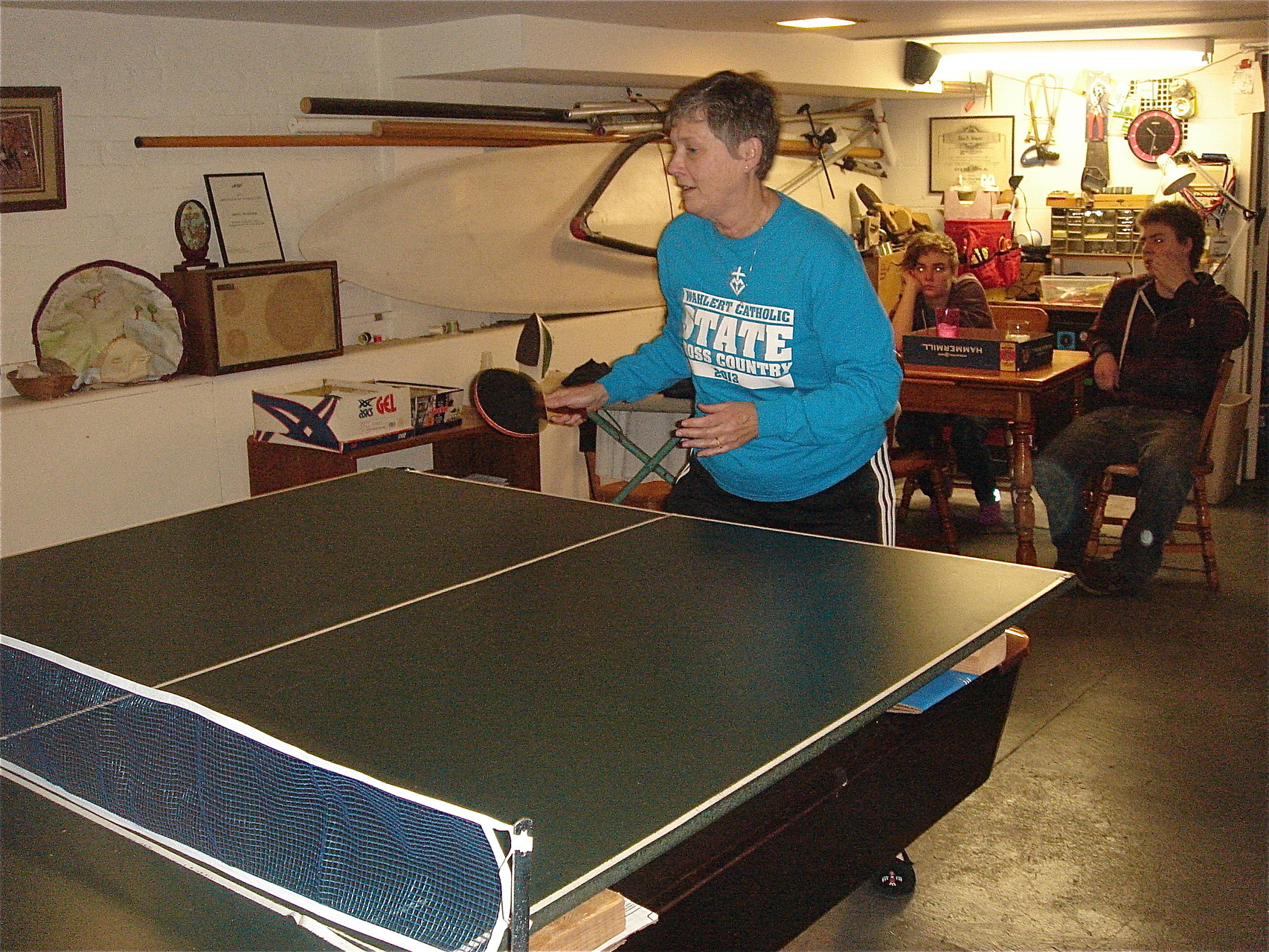 Cindy Wagner plays ping pong...