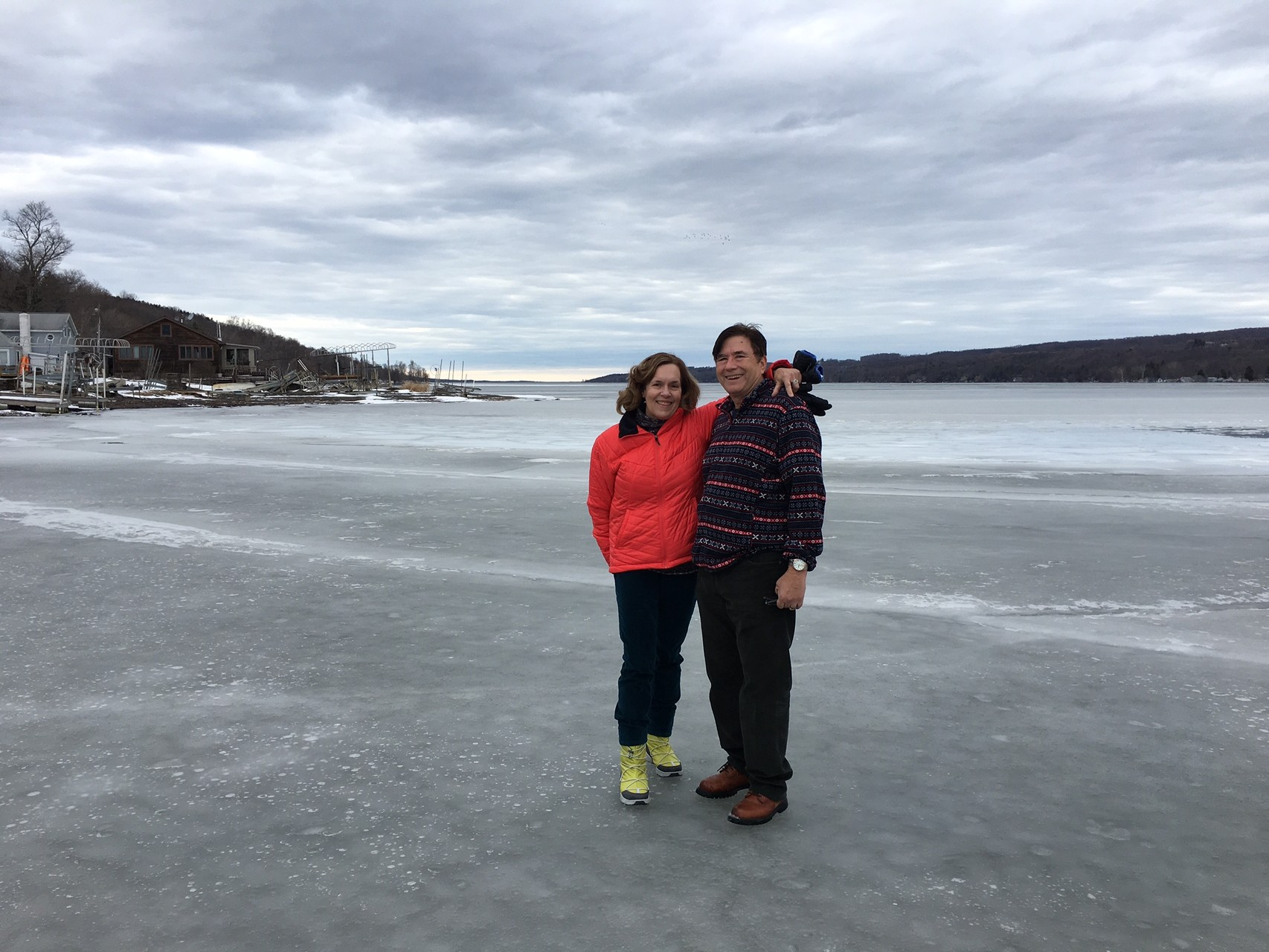 Lorraine & John on the Owasco Lake ice, Feb. 20, 2016