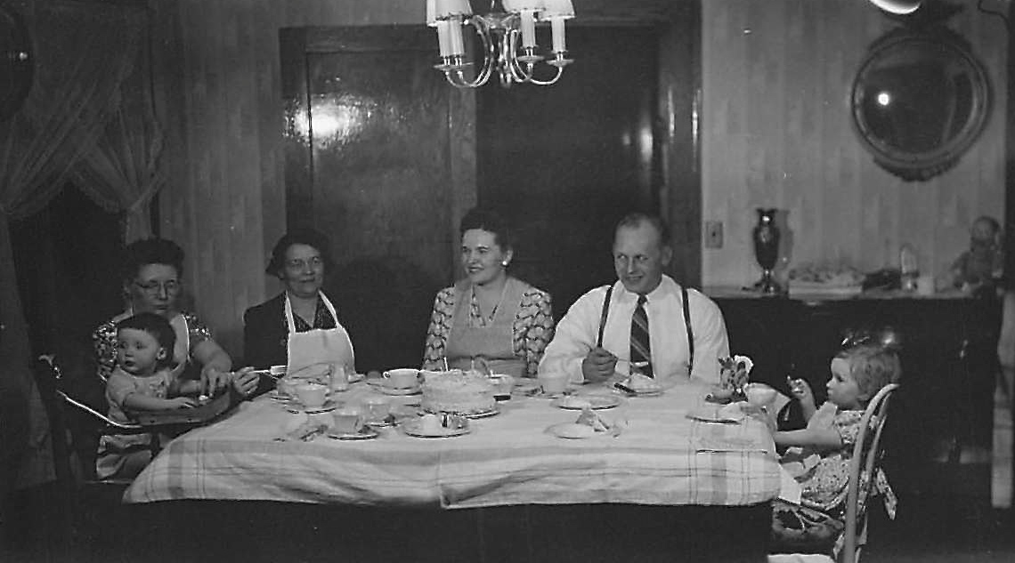 Judy & Bernice Willis, Stephanie (Mayme's mother), Mayme, Stanley Baldyga, & their daughter Susan  1948?