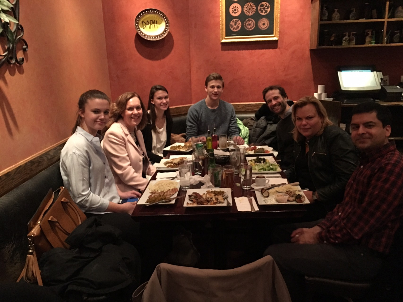 Kate, Lorraine, Ellie, Jack Kagel, Steve Trasino, Celeste, Samie Jaffrey at a Greek restaurant before the play HAMILTON, Feb 9, 2016. Kate & Jack's Bday Present!