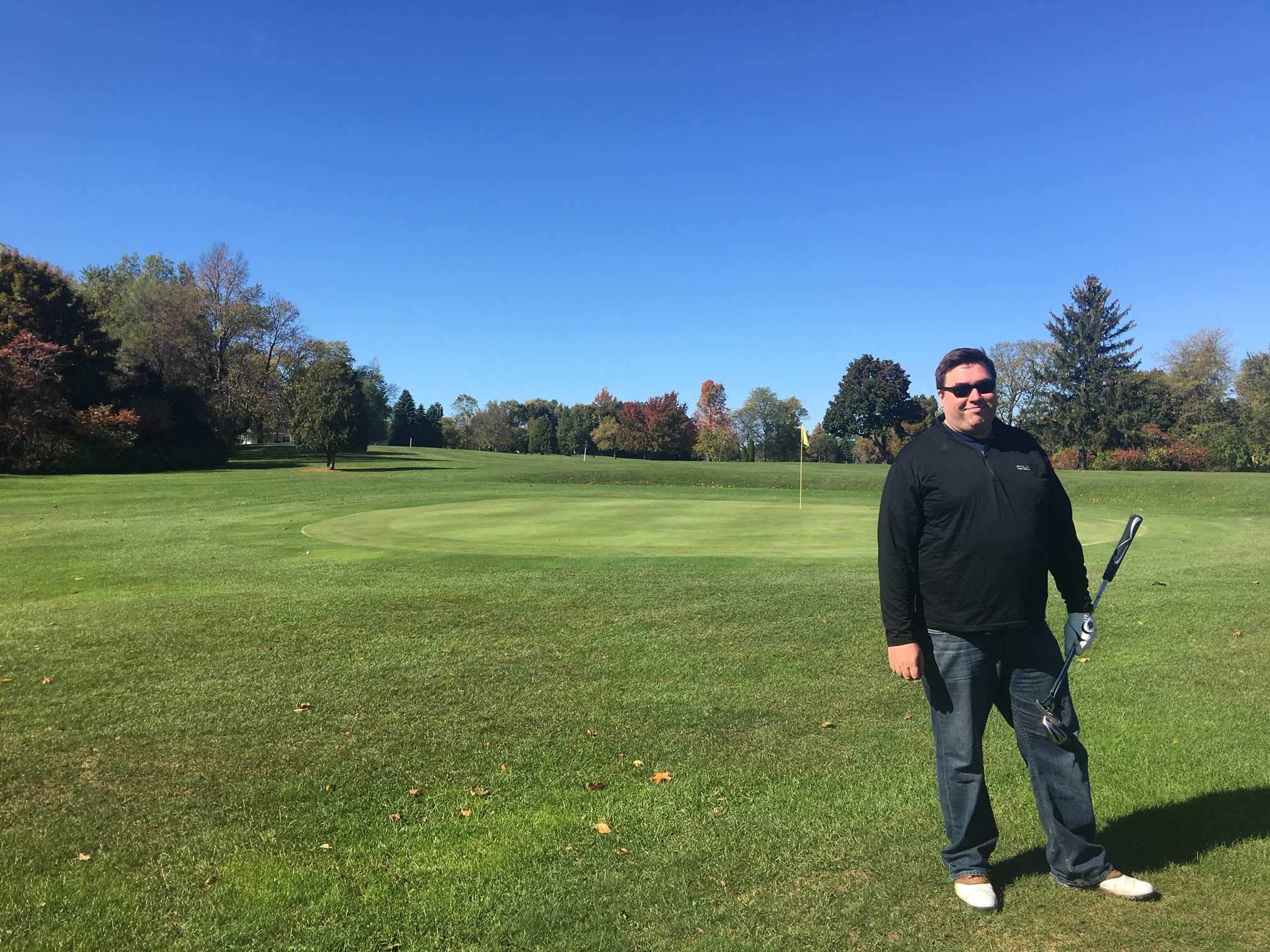 Greg & John playing golf, October, 2019, Lyndon, NY