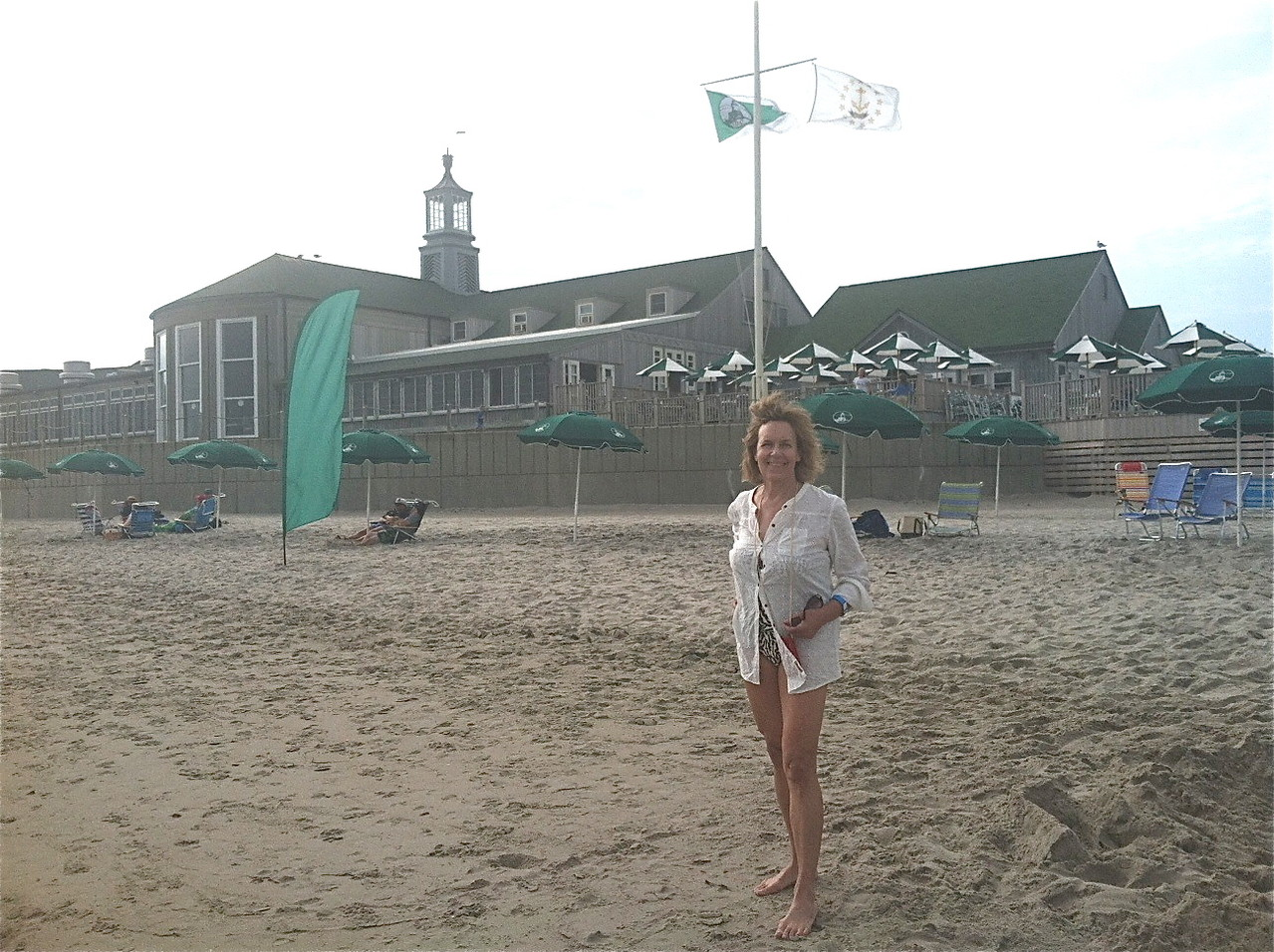 Lorraine in front of the Dunes Club, Narragansett Beach, 2013