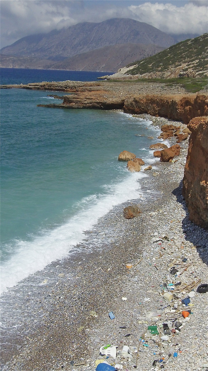Beach near Gournia, Crete, note trash washed up on the beach