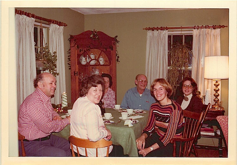 Al, El, Mayme (hidden), Stanley Baldyga, Lorraine Gudas, Janet Baldyga Xmas 1976 at Lockwood Rd.