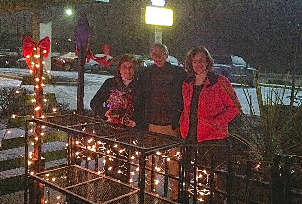 Jeanne, John Sheridan, & Lorraine after dinner...SNOW!