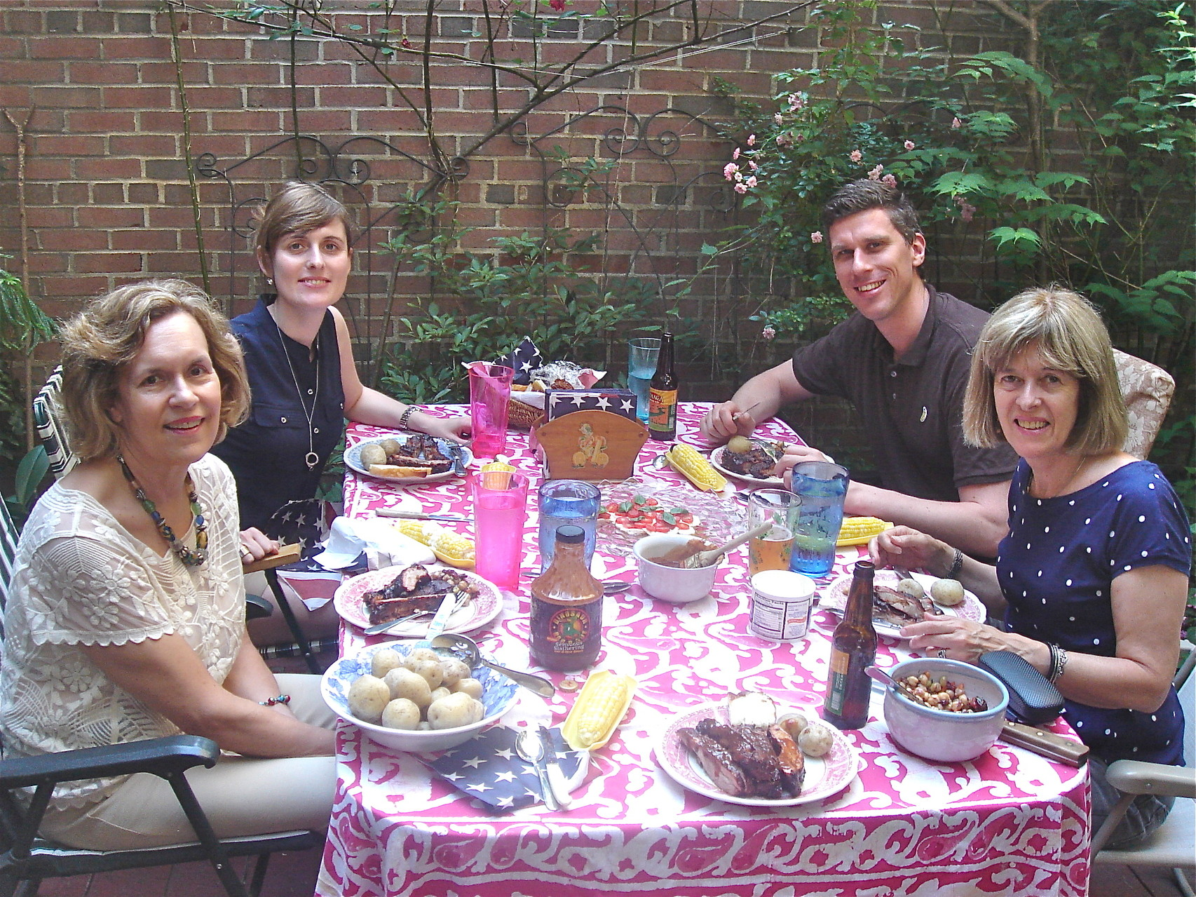 Lorraine, Anna, Patrick, & Nancy enjoy the ribs!  2014