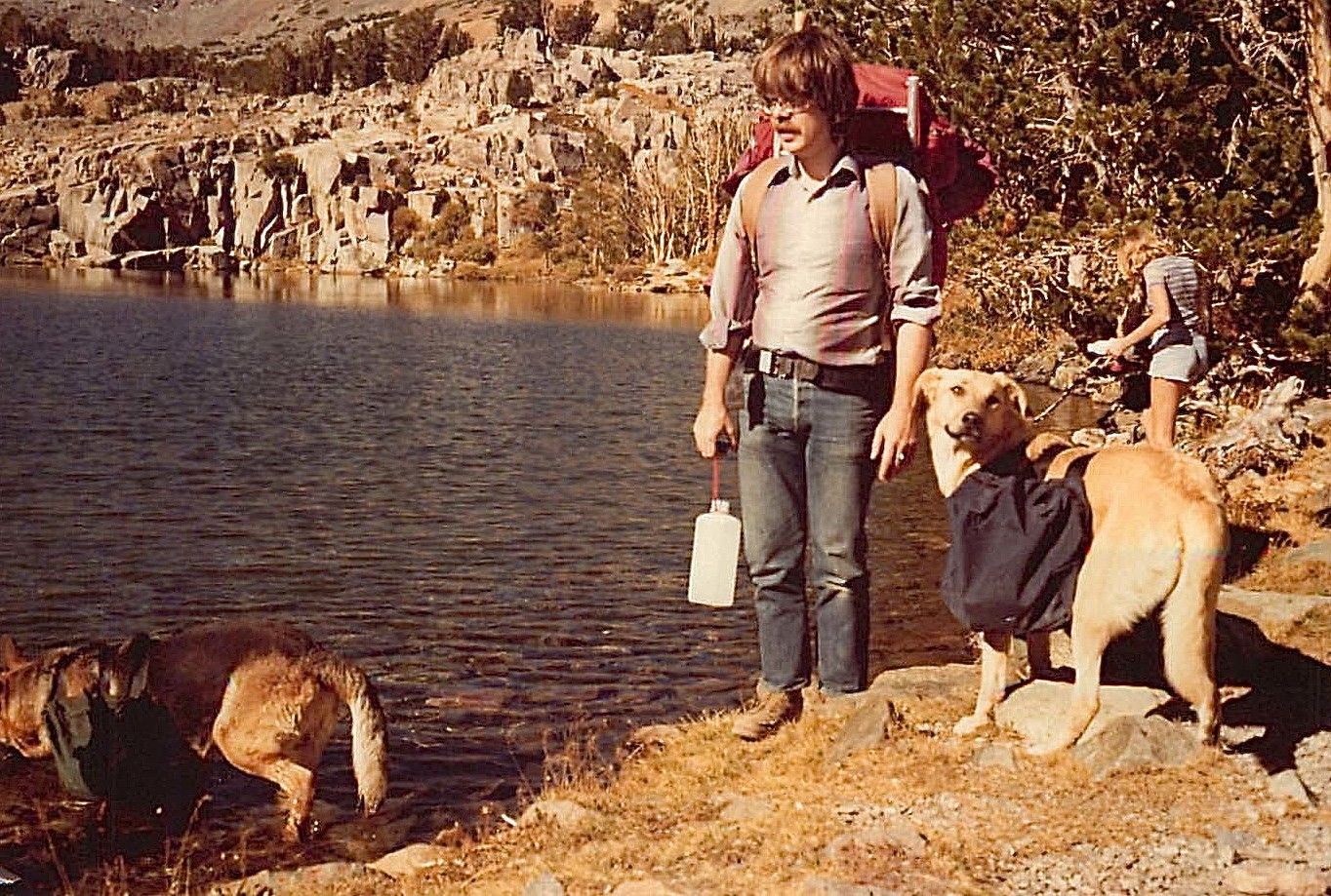 Steve Carlson, with Nero & Habibi. On this backpacking trip: Connie, Reg, Alison, John & Lorraine Oct 1977 Hoover Lakes, Sierras