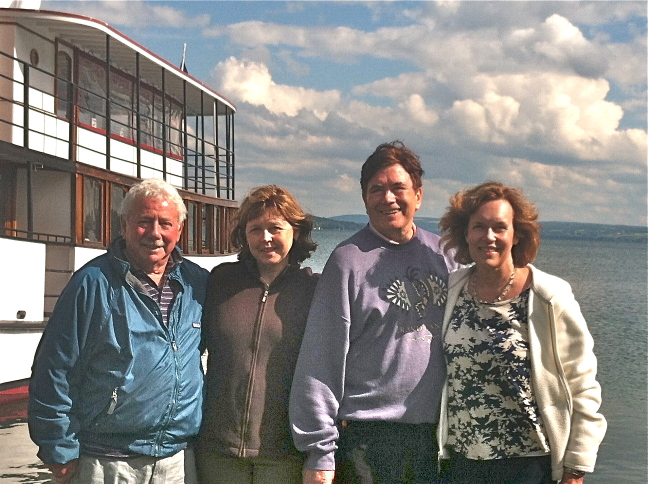 Aug. 2014: Don Fischman, Barbara Lohse, John & Lorraine in town, Skaneateles Lake