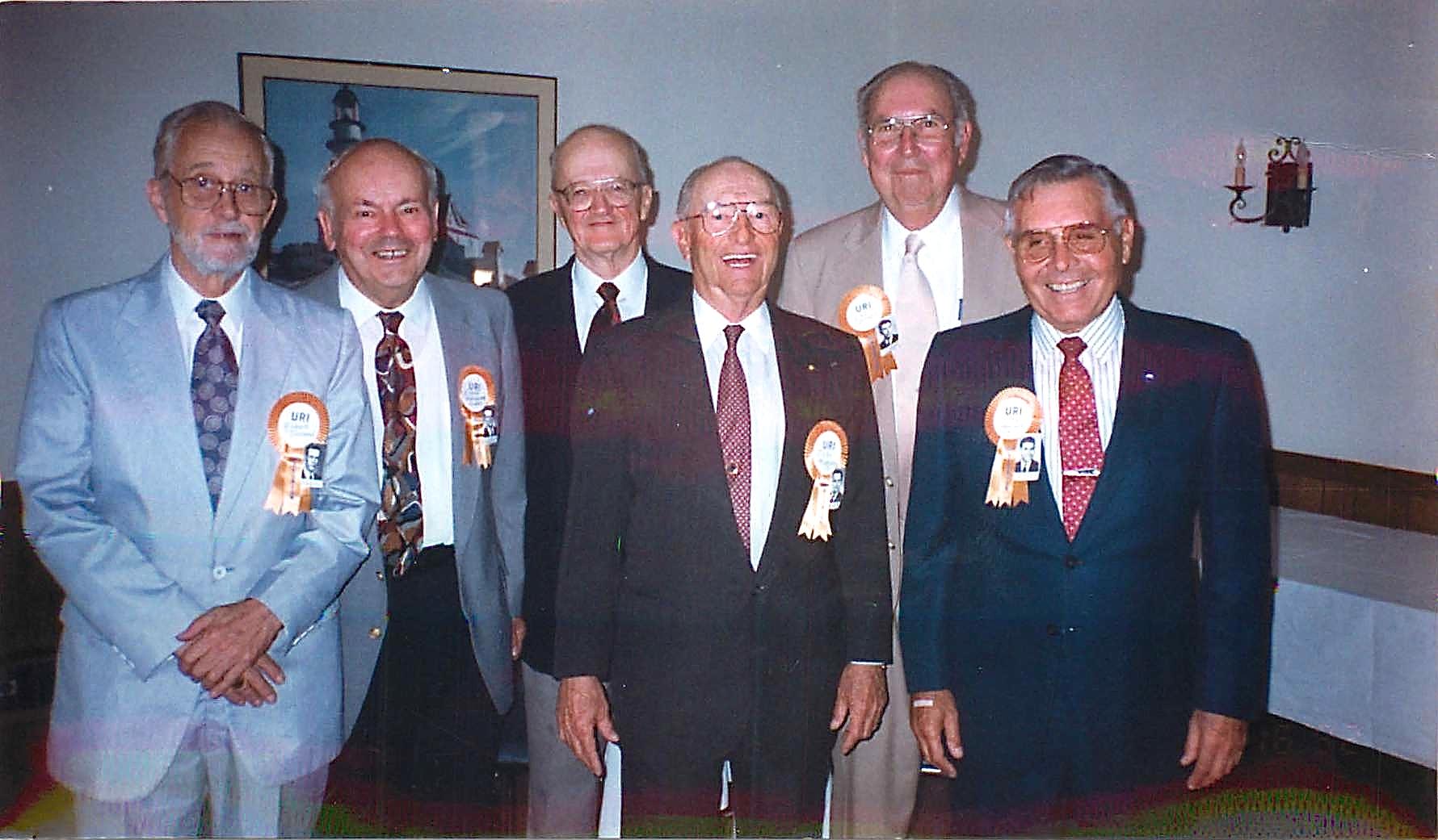 1992 Albert Gudas 50th URI Reunion  Bob Townend, Albert Gudas, Bob Gammons, John Mahoney, Earl Sparks, Hike Hedison