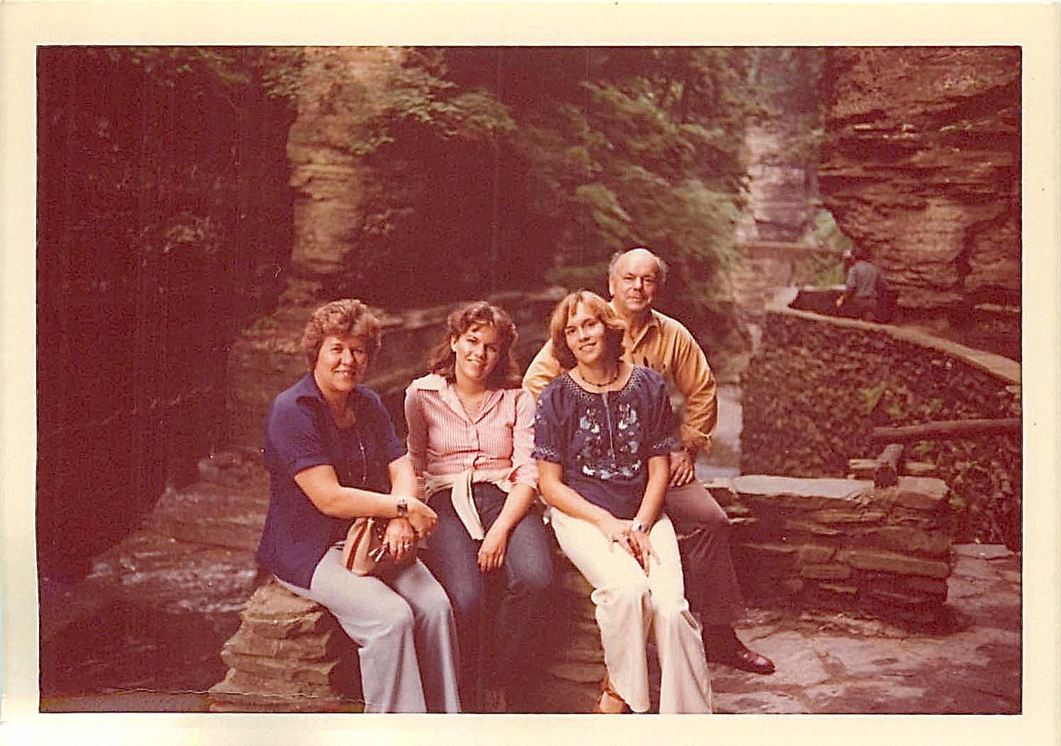 Summer 1977, Robert Treman State Park, NY, Eleanor, Celeste, Lorraine, Al Gudas