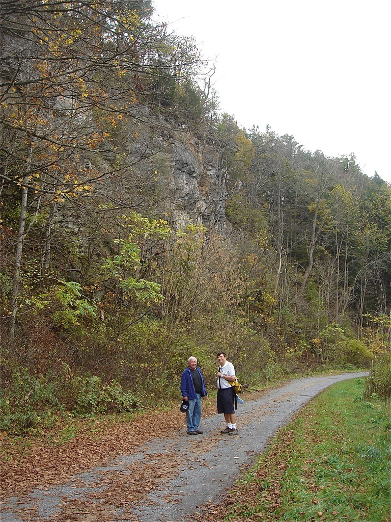 Don & John hiking along the river in State College, PA   October, 2013