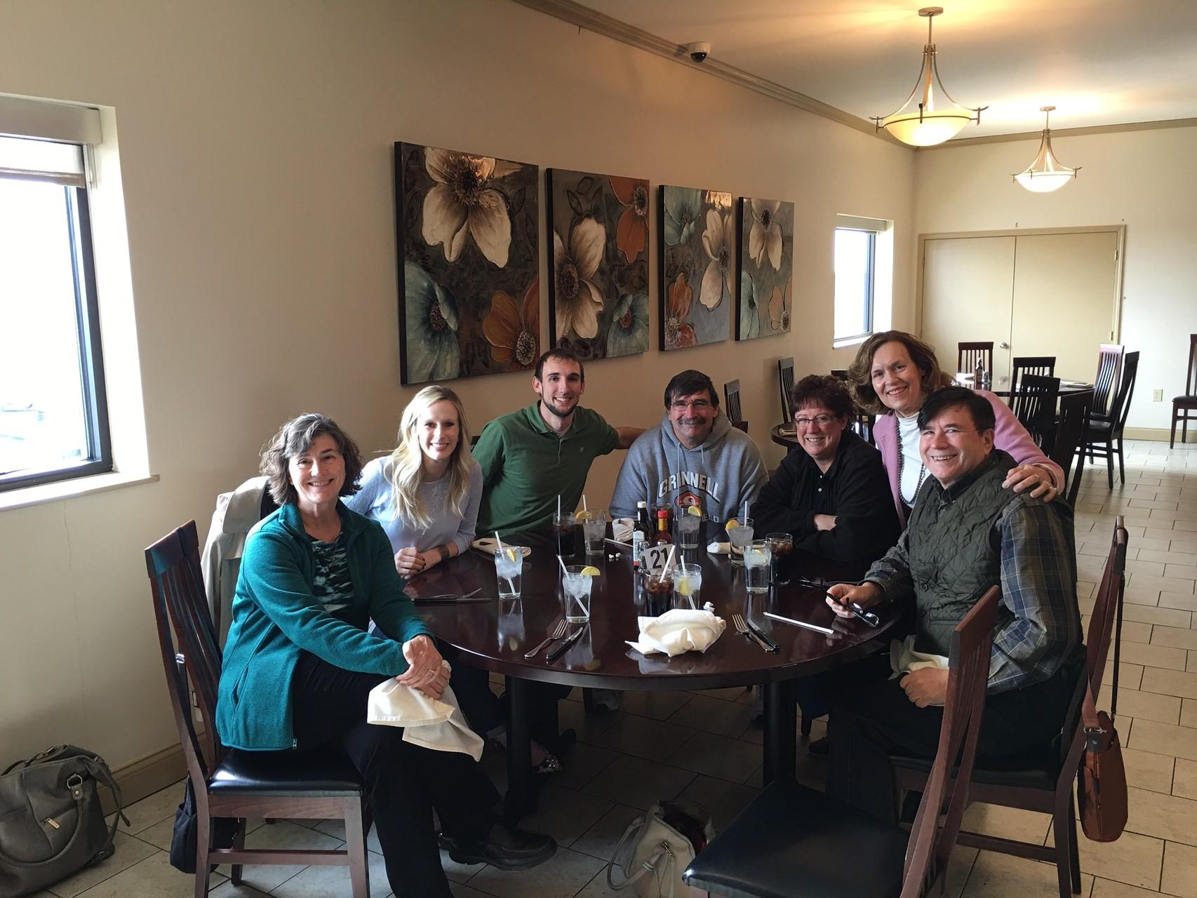 Ann Ackerman, Emily & Nick Wagner, Paul & Jill Wagner, Lorraine Gudas, John Wagner Grinnell Iowa March 6, 2016