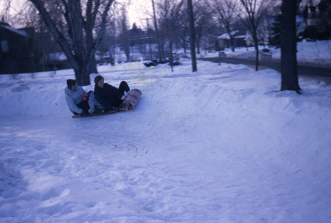 The toboggan Shoot, went from back yard and curved into front yard: Eleanor, Celeste, Lorraine