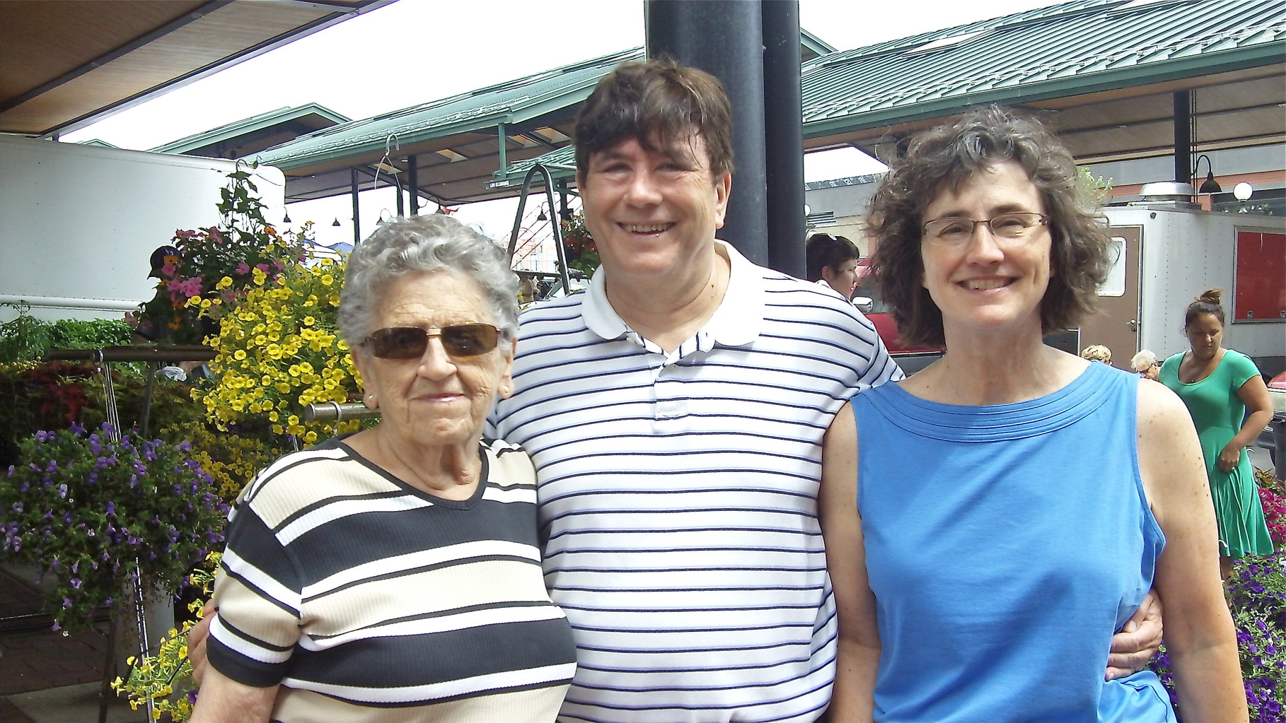 Mary Lou, John, & Ann at the Farmer's market