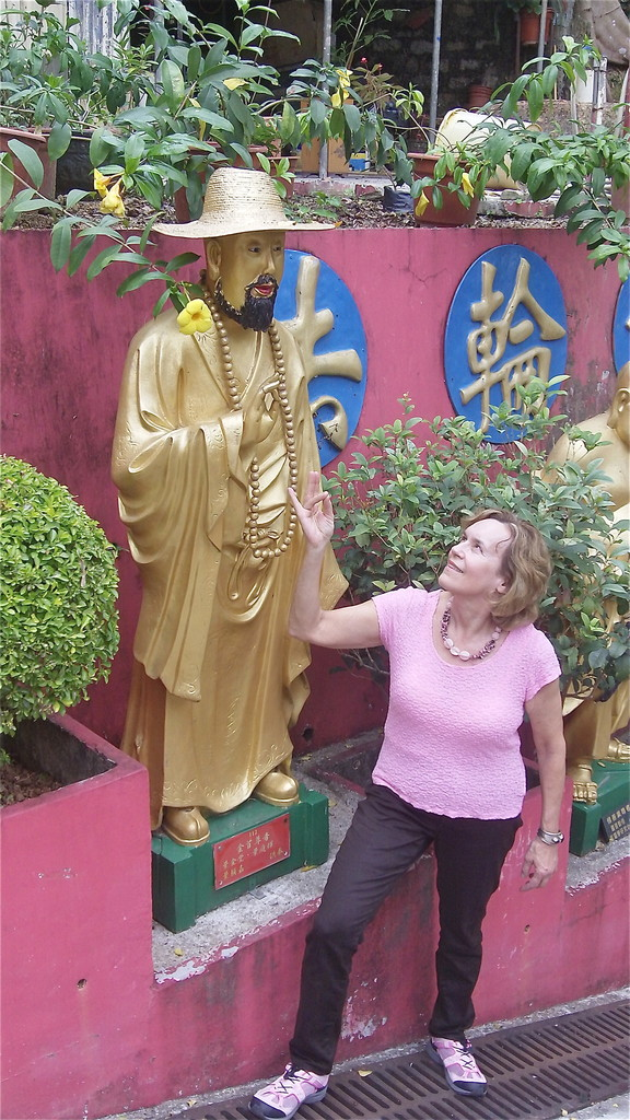 "Lorraine with her favorite ""hippy"" Buddha"