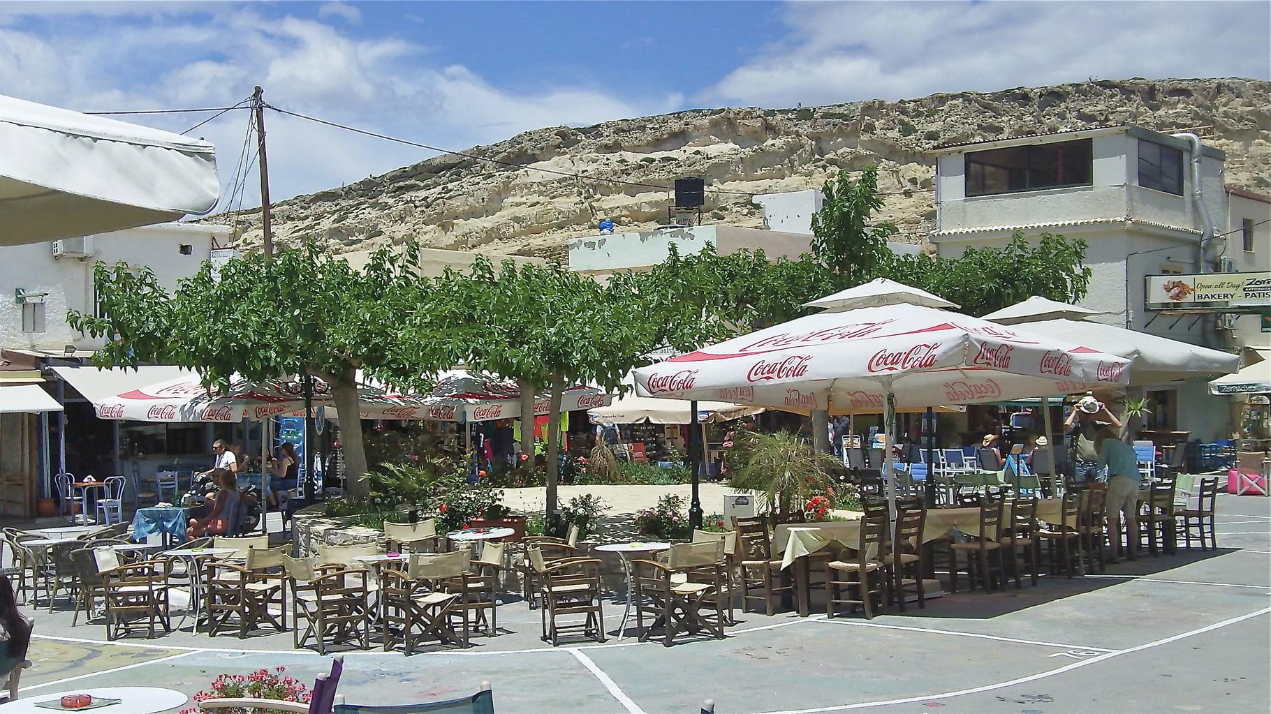 town square, Matala, Crete