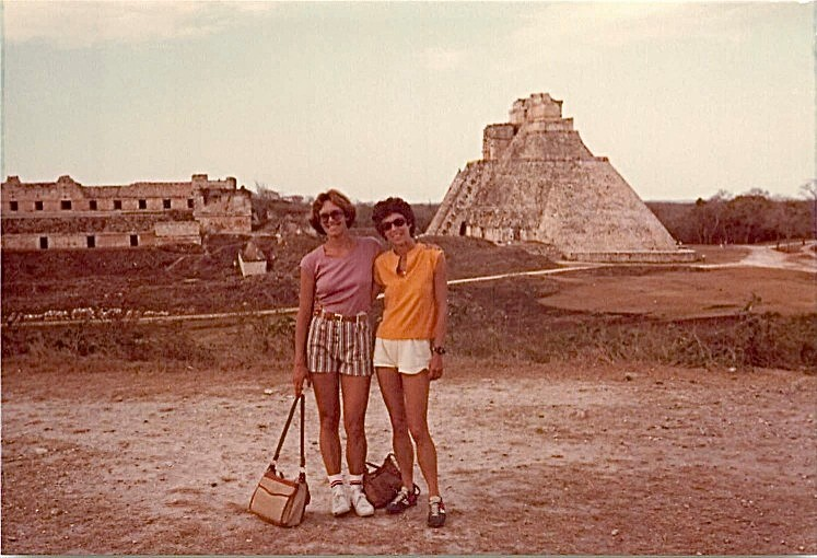 Uxmal. Mexico, Temple of the Sorceror in back, 1979 Lorraine & Barbara