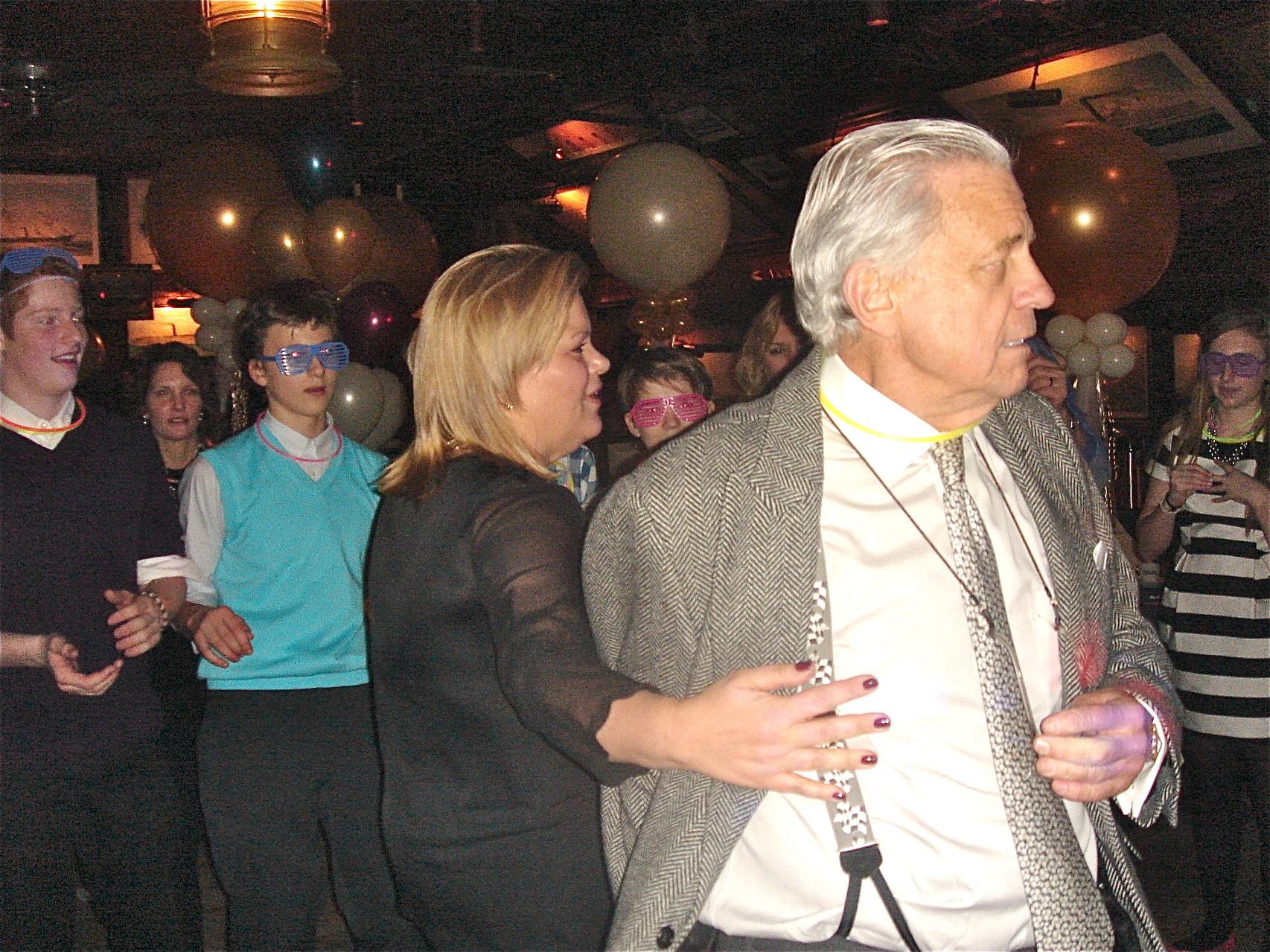 Celeste & Stuart Sr. start dancing... Son Jack in background.