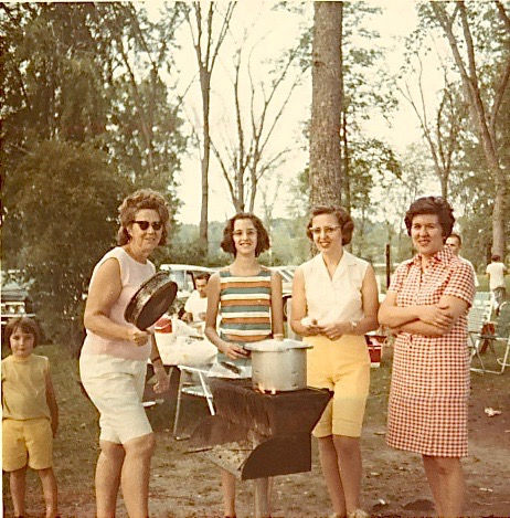 Mrs. Frank Petrouskas (left) & Eleanor Gudas (right) at Lithuanian Picnic in Syracuse, summer, 1970
