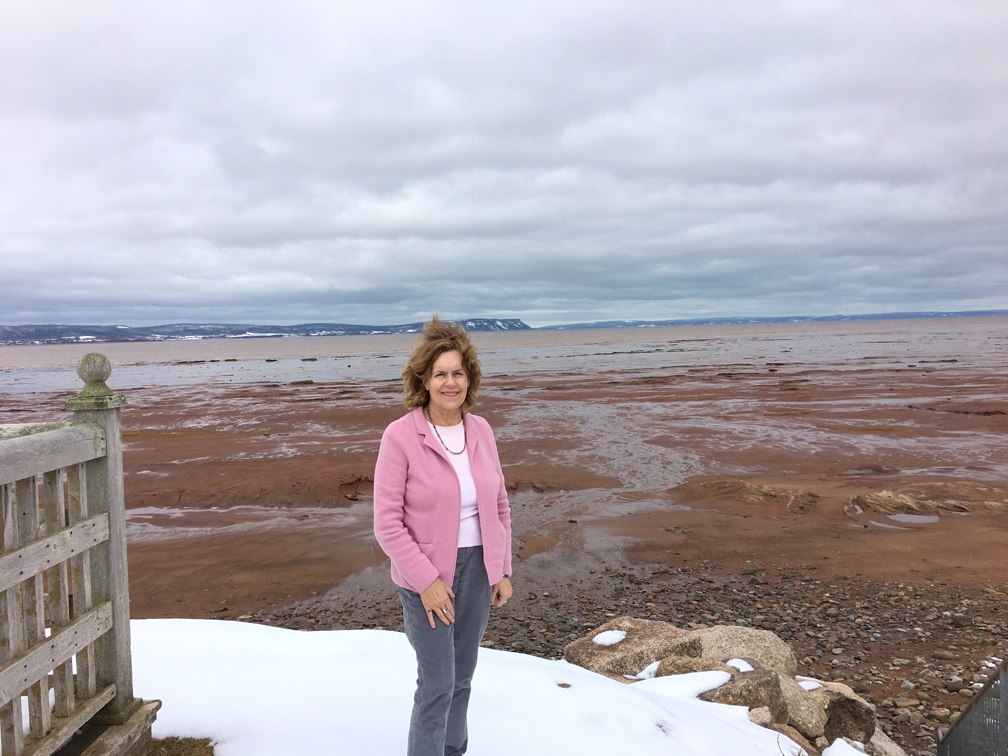 Lorraine at the Bay of Fundy, Halifax, March, 2018