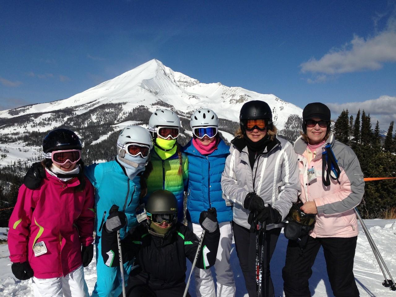 Gabby, Kate, Emma, Ellie, Celeste, Lorraine;Jack in front   Big Sky, 2013