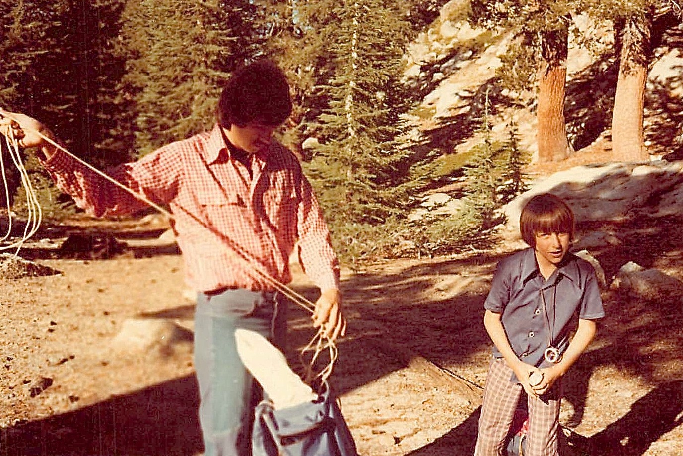 Reg Kelly & son Gordon, 1976 backpacking trip with his lab