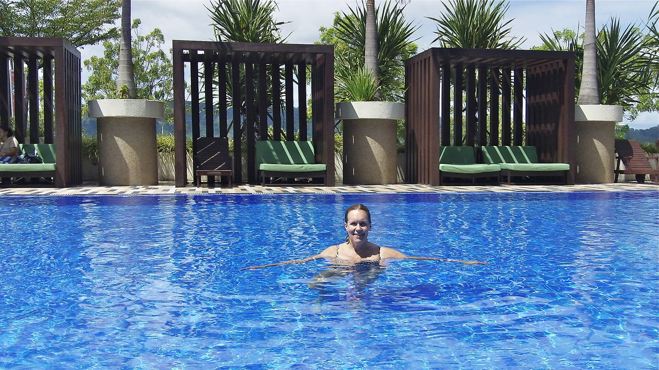 Lorraine at the pool at the hotel, Borneo