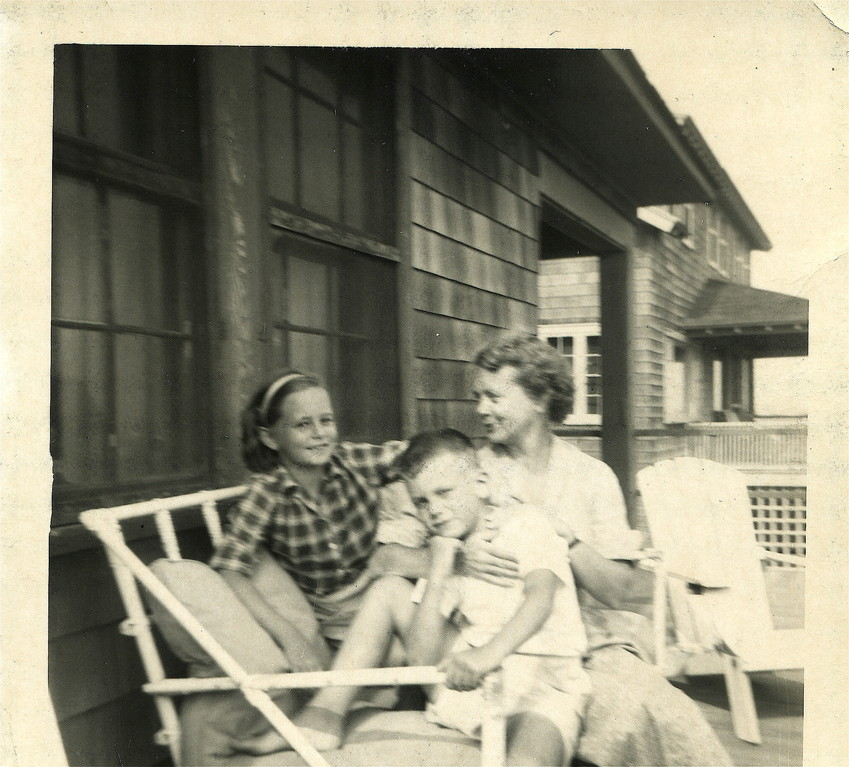 Kathy, mom, and Stuart Kagel, 1940s