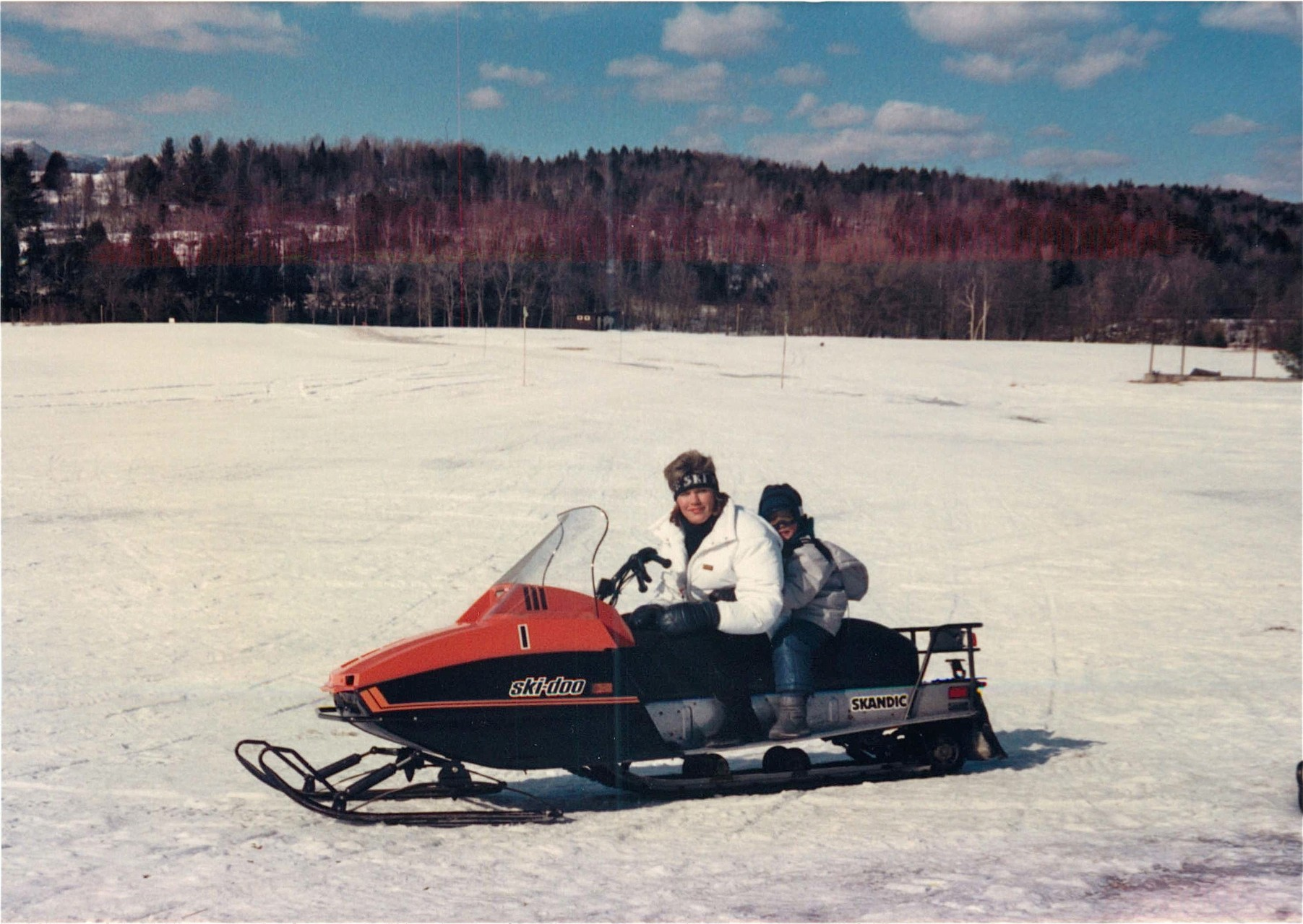 Celeste & Greg speed around the track, 1988, Vermont