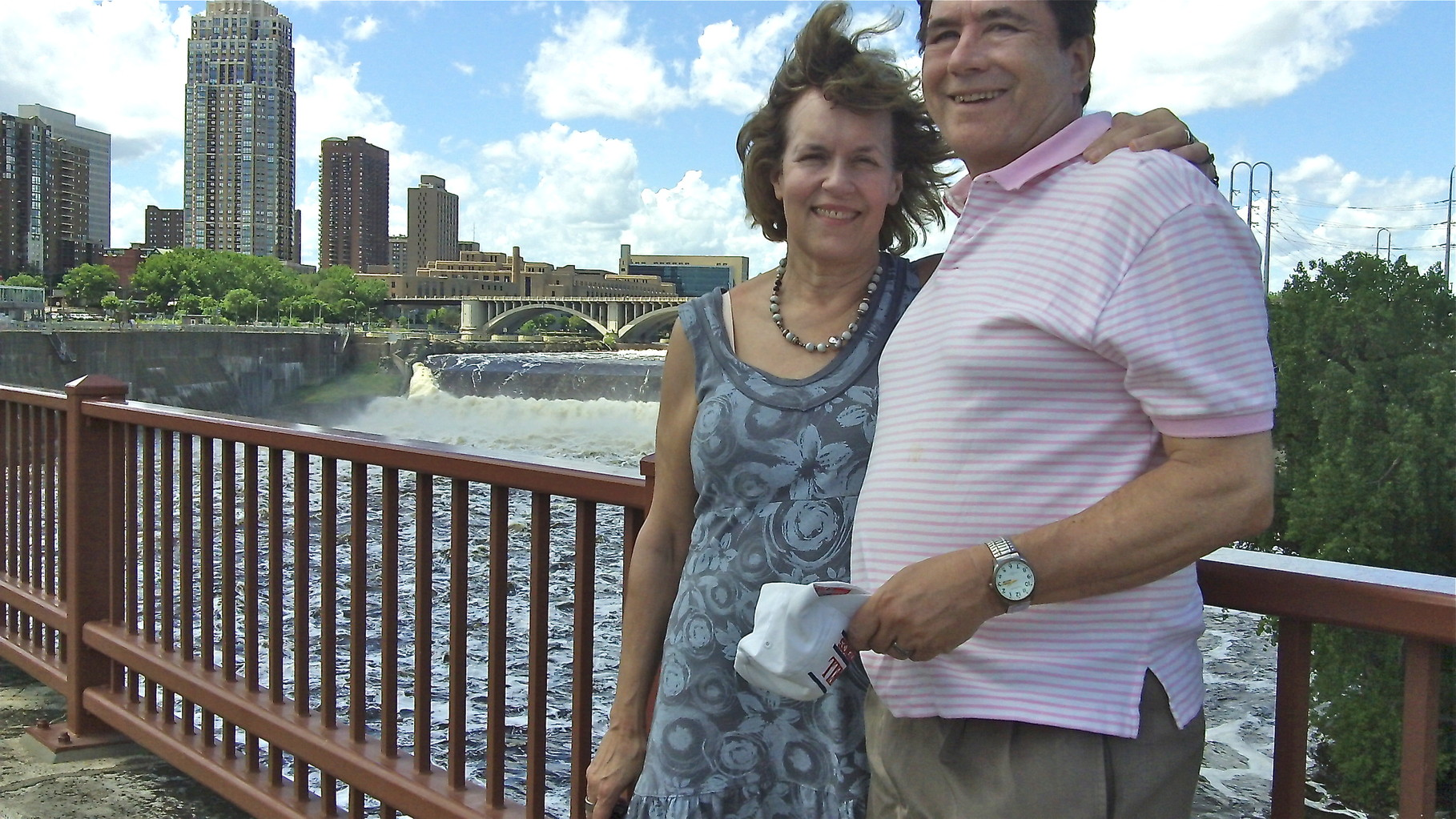 Lorraine & John on the Stone Arch Bridge, Mississippi River, downtown Minneapolis