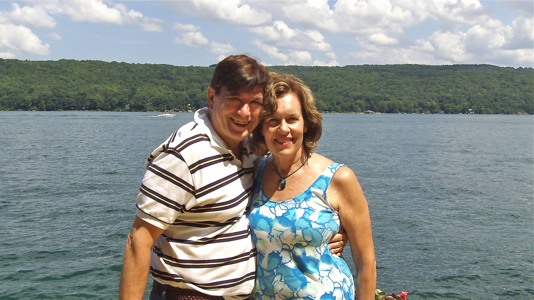 Lorraine & John on dock at Skaneateles, August, 2014
