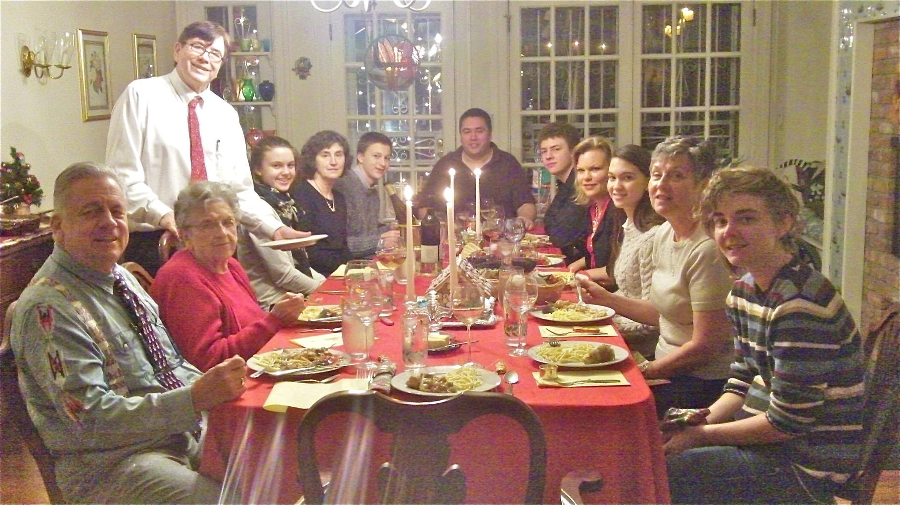 Xmas Day Dinner: Stuart Kagel, Mary Lou Wagner, John Wagner, Kate Kagel, Ann Wagner, Jack Kagel, Greg Wagner, Ben Ackerman, Celeste Gudas, Ellie Kagel, Cindy Wagner, Kathleen Ackerman