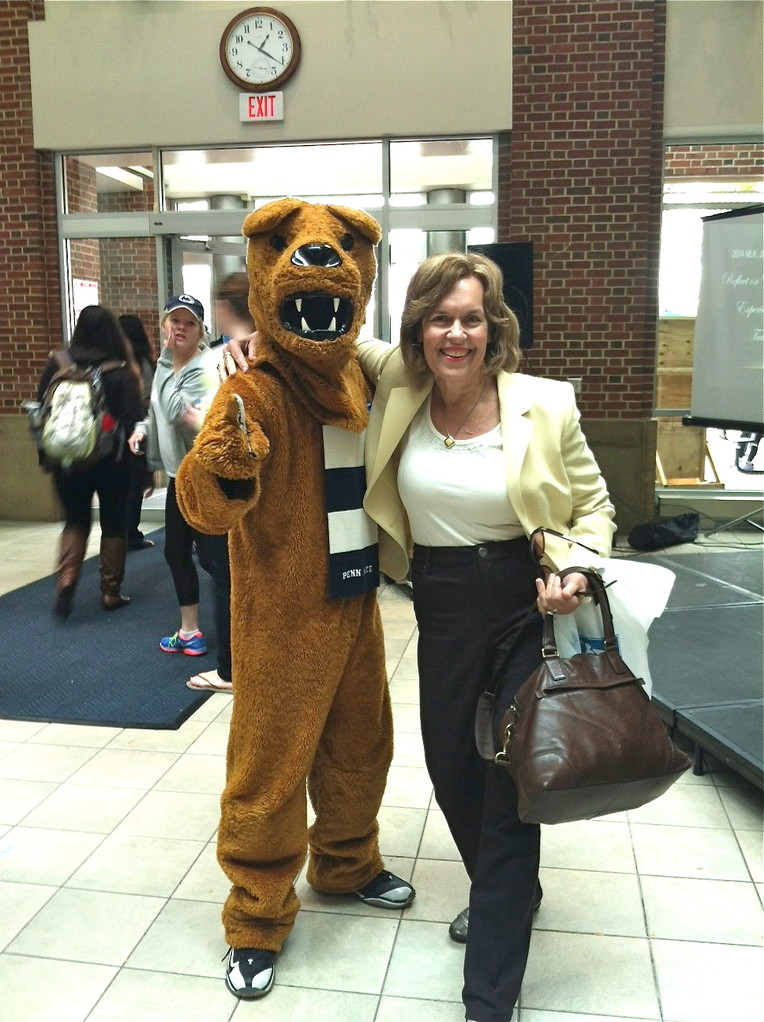 Lorraine at Penn State with the Nittany Lion!
