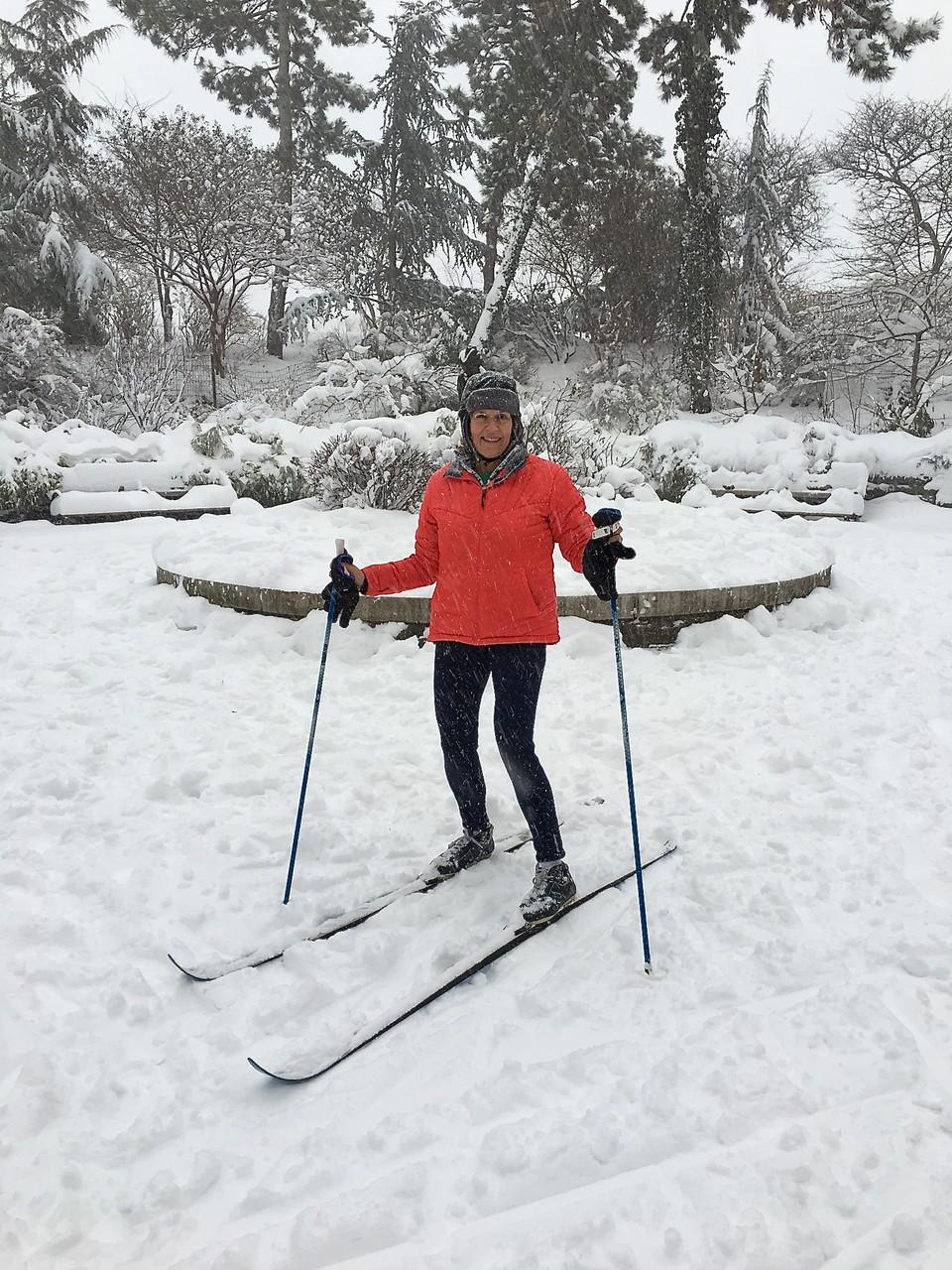 Lorraine skiing in Carl Schurz Park