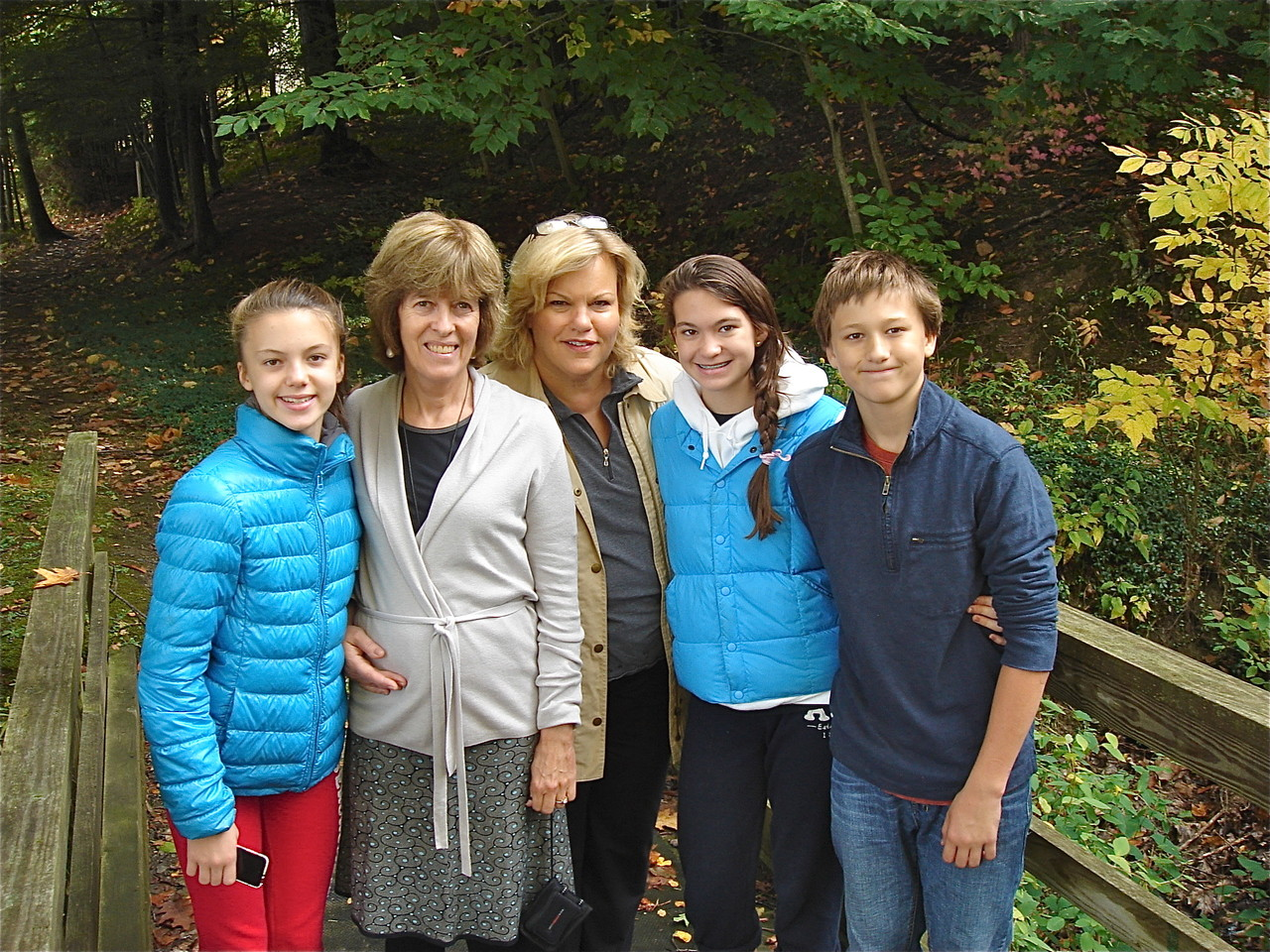 Kate, Nancy Hynes, Celeste, Ellie, & Jack Skaneateles Lake, Oct. 2012