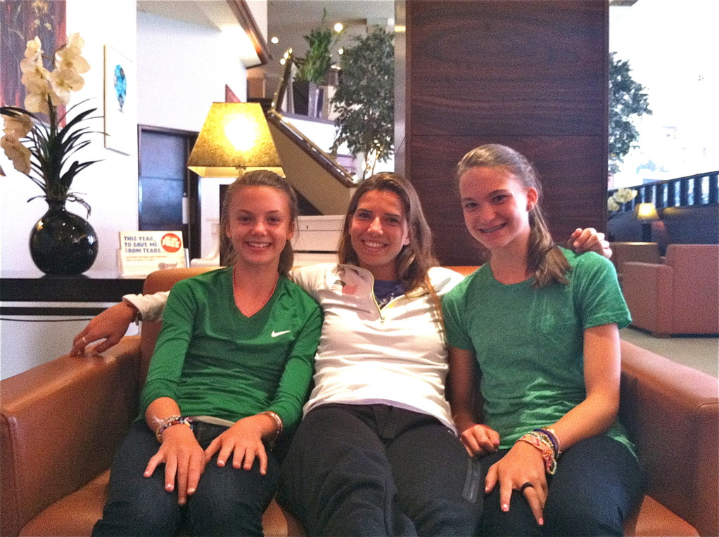Kate, Tobin Heath, Ellie    Glasgow, Scotland  2012 Olympics