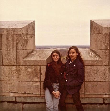 Victoria Deangelis & Celeste, Tower at Princeton Graduate School, 1971