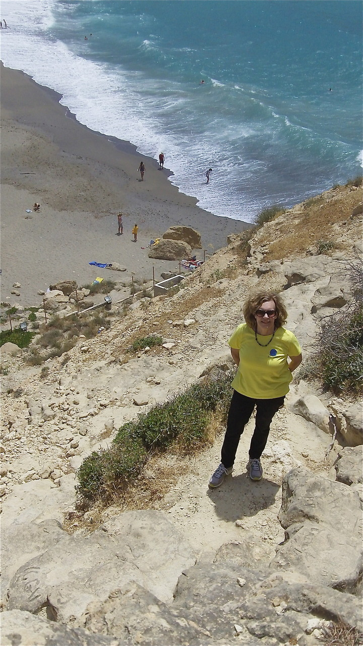 Lorraine at the caves of Matala; Joni Mitchell lived in these caves in the 1960s/70s