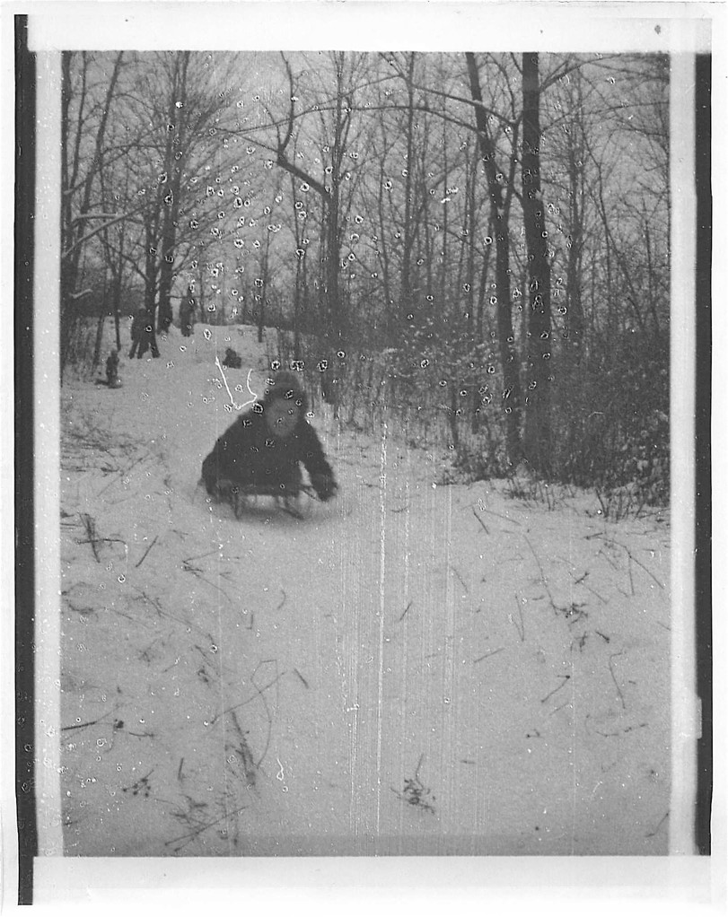 Eleanor Bogden Gudas sledding, 1974