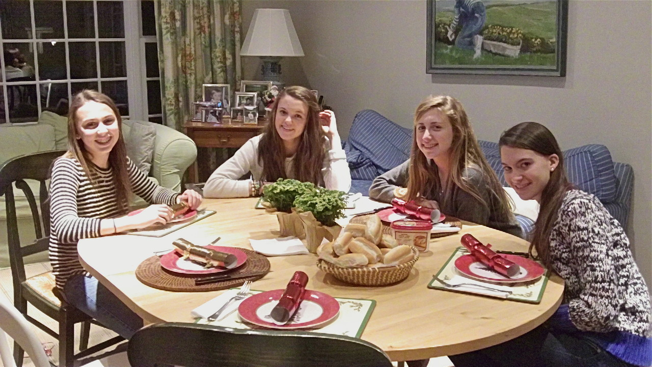 Christmas Day, 2013, Hill Farm, Connecticut  Gabby, Kate, Emma, & Ellie Kagel at dinner