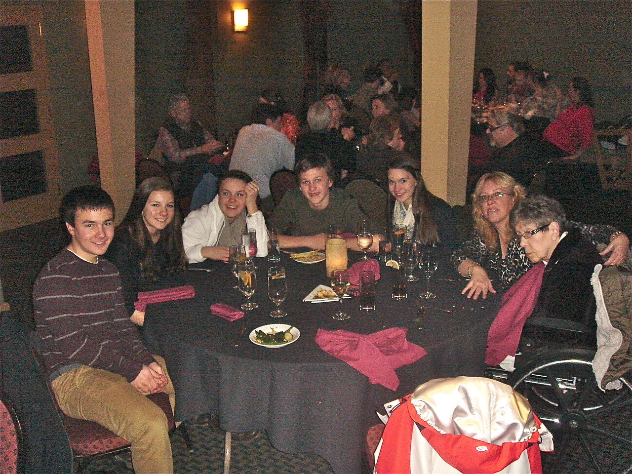 Dinner at Gentile's Rest., Syracuse, NY on Al's B'day, Dec. 28. Trevan, Sara, Kate, Jack, Ellie, Traci Hart, & Eleanor Gudas.