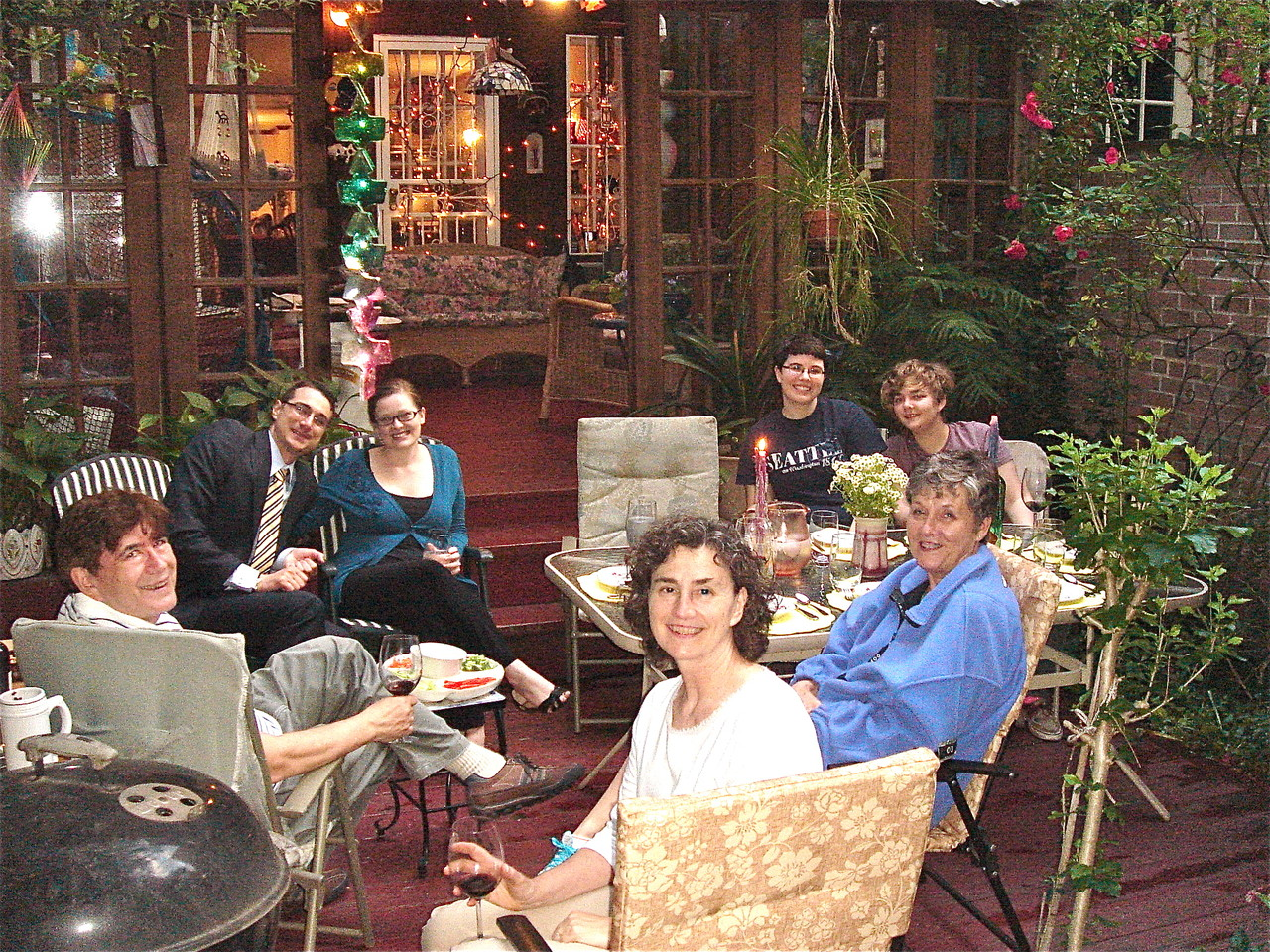 John, Nate, Jenny, Ann, Cindy, Emilea & Kathleen in background, dinner at our house, 6-14-2013