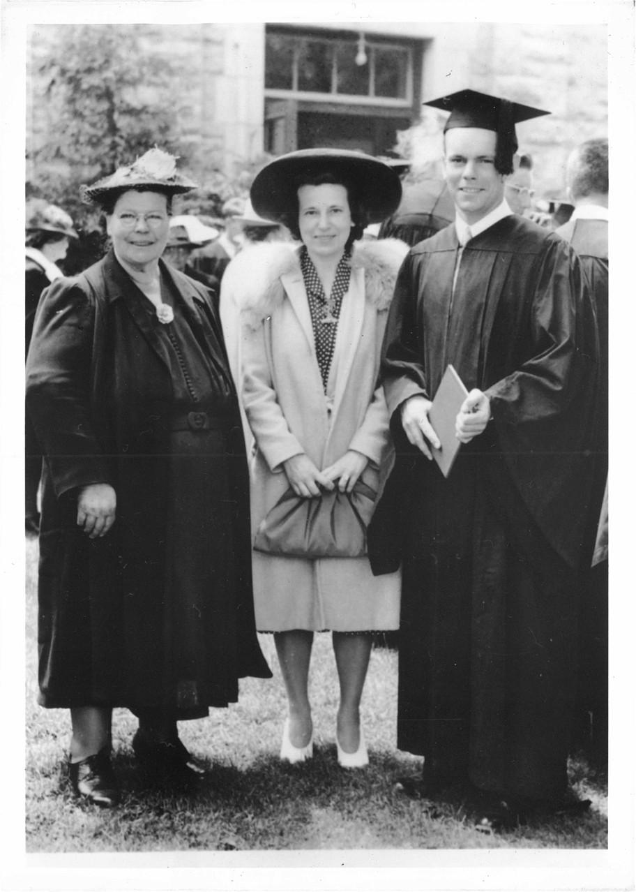 Helen (Al's mom), Mae (Al's sister) & Albert Gudas, graduation from Univ. of Rhode Island, Electrical Engineering, 1942