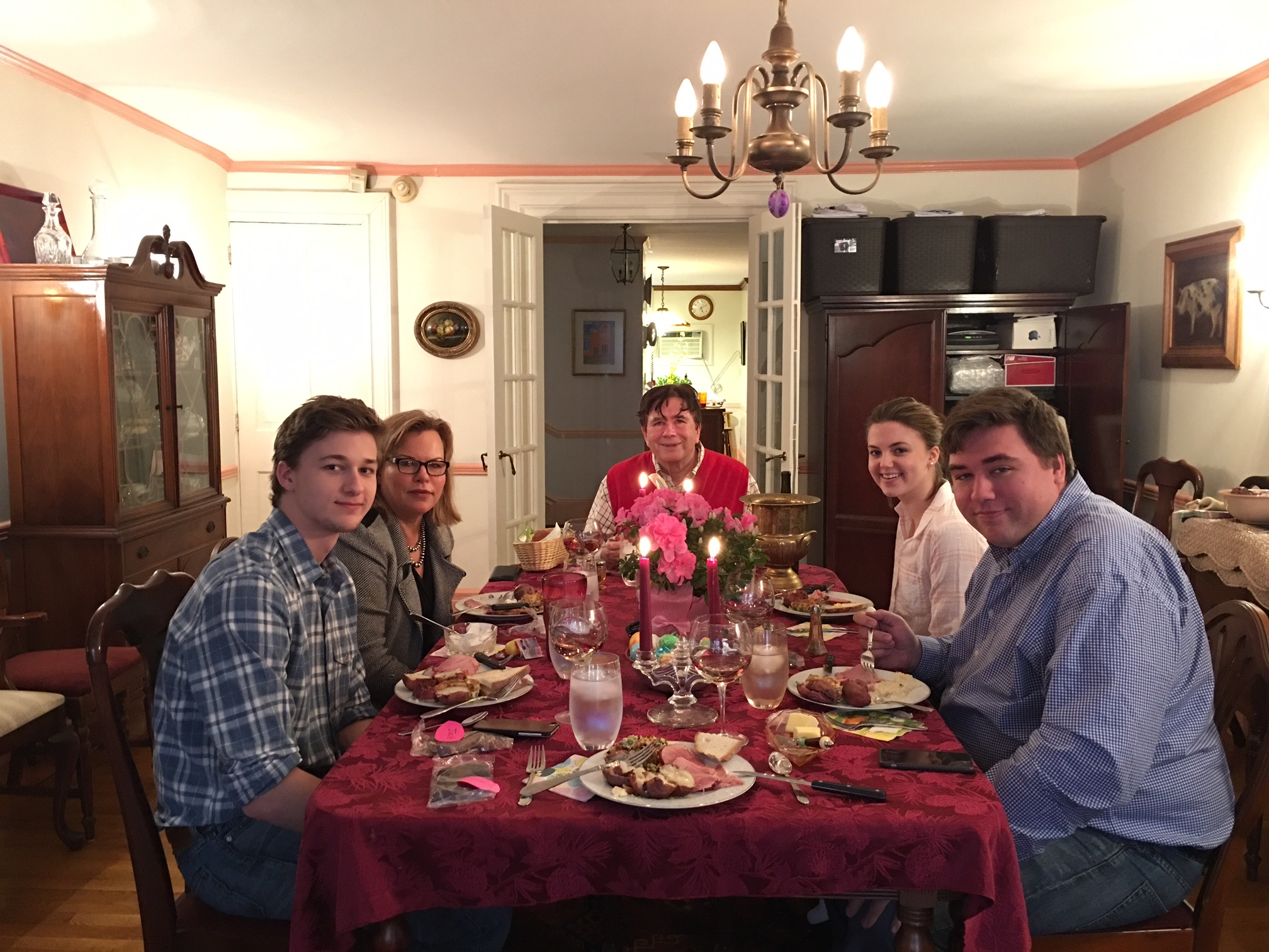 Jack, Celese, John, Kate, & Greg, Easter Dinner, 2018