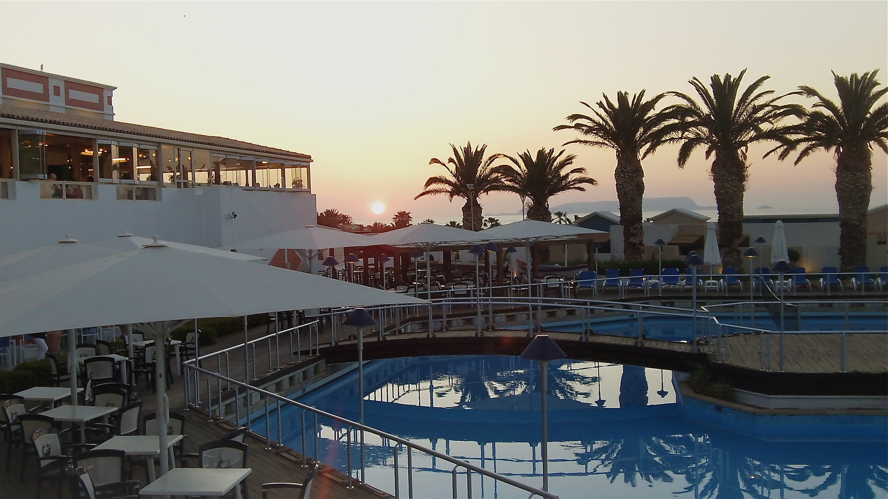 Sunset at the hotel in Crete.