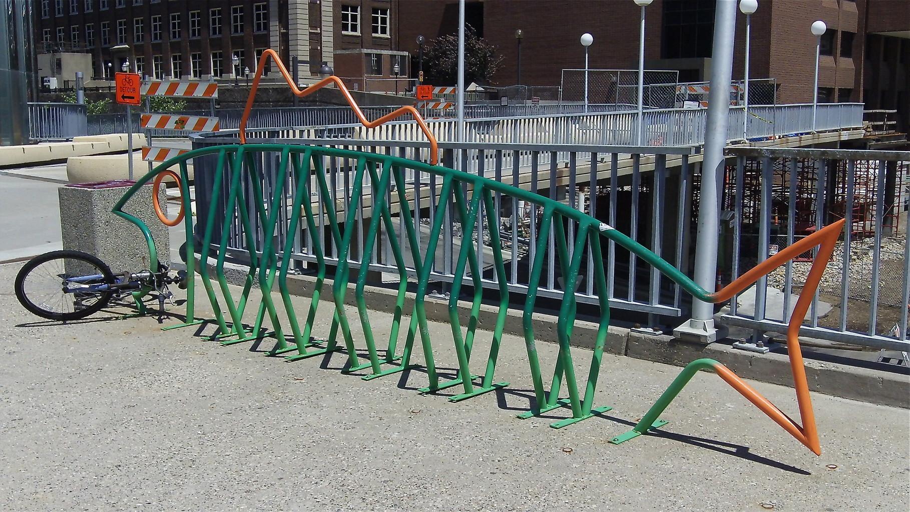 Bike rack on the campus.