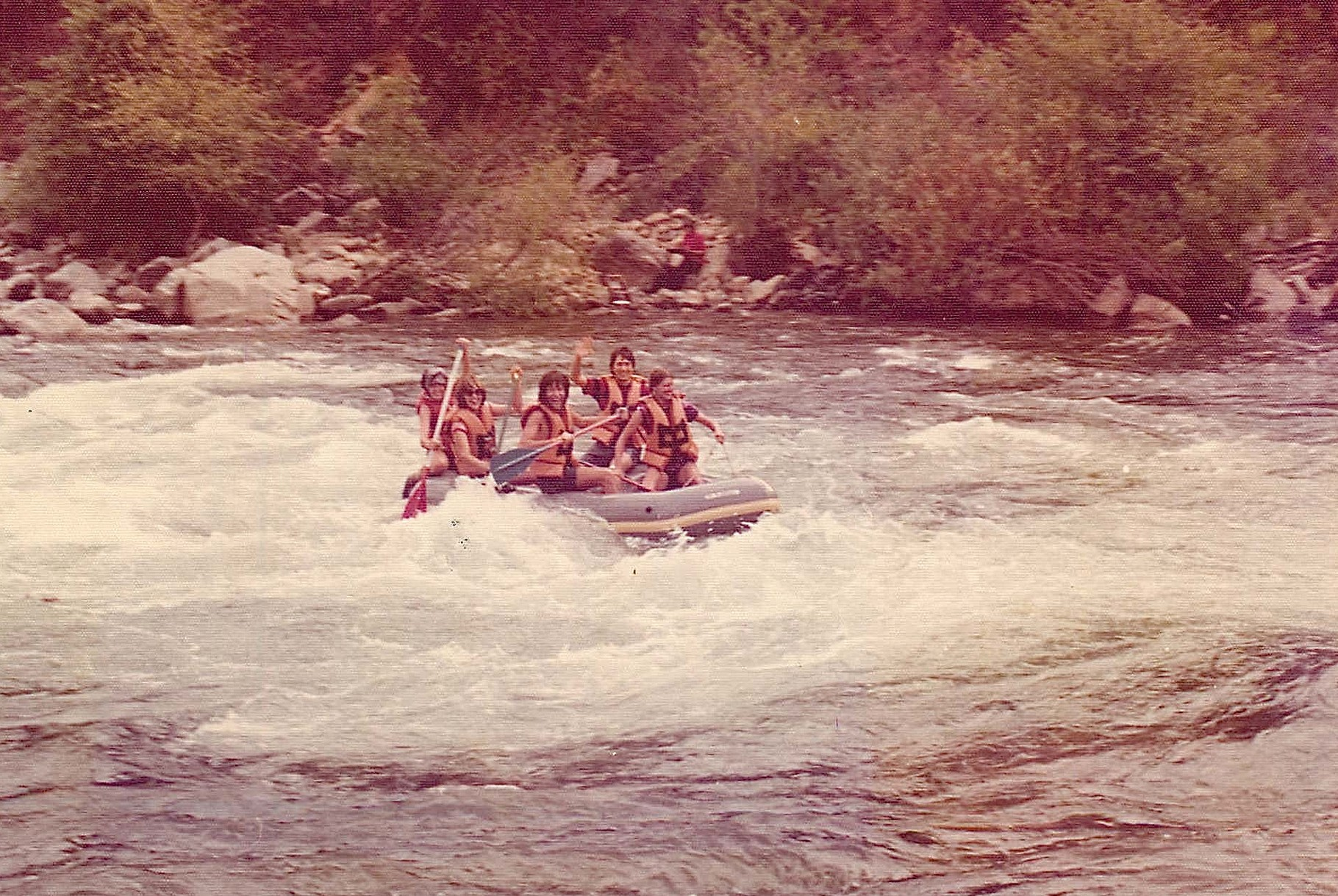 Debby Doyle, Lorraine Gudas, Reg Kelly, John Wagner, & Amy rafting the south fork, American River, S-turn 1976