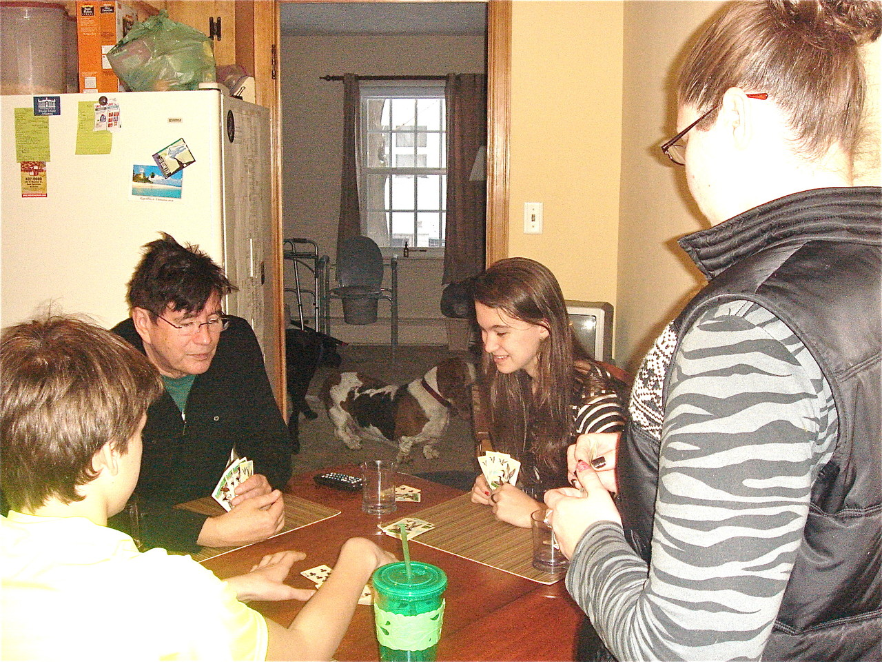 Learning how to play the Dubuque card game Euchre...
